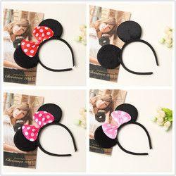 Mignon Rouge Arcs Minnie Souris Oreilles Partie Enfants Bandeaux Garçons Fille Adulte Mickey Mouse Bandeau d'anniversaire fournitures Partie Accessoires