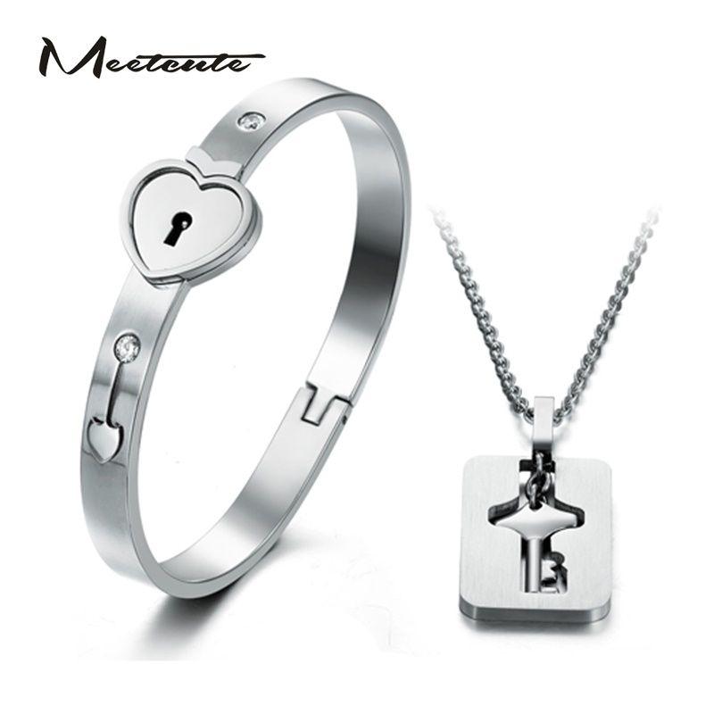 Meetmignon coeur serrure amour bijoux ensembles avec serrure clé pendentif collier titane acier coeur serrure Bracelet clé collier pour les Couples