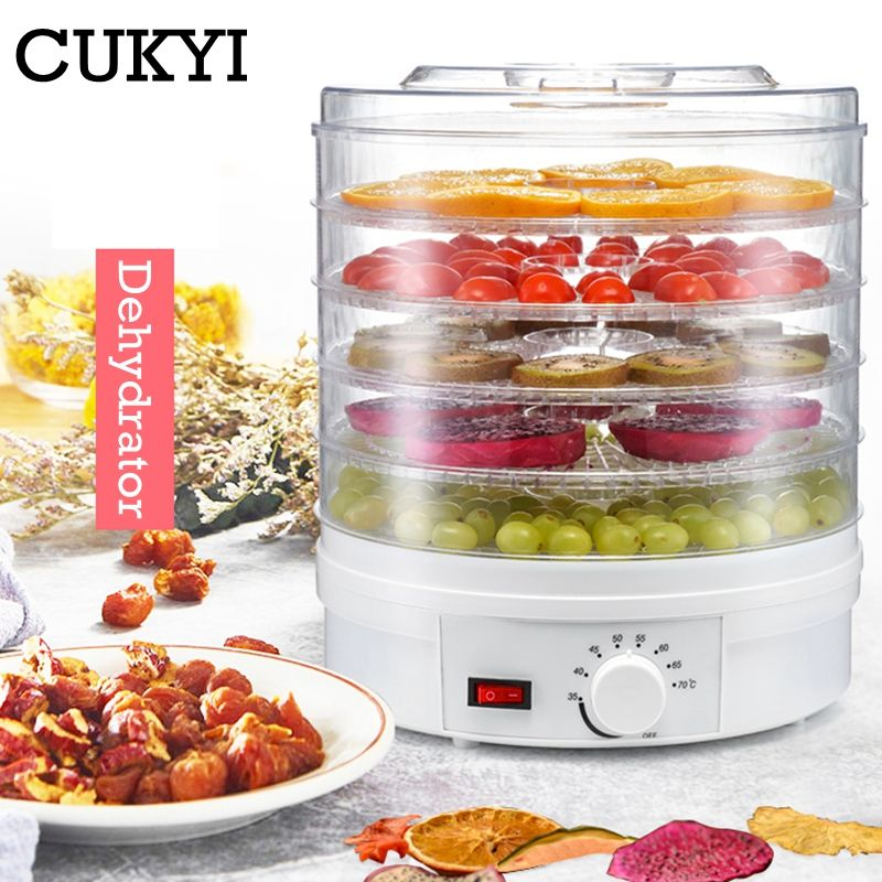 CUKYI Dörr Obst Gemüse Kraut Fleisch Trocknen Maschine Snacks lebensmittel Trockner mit 5 trays EU/UK/US stecker 110 v/220 v