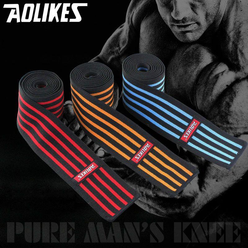 1 pc 180*8 CM Élastique Poids De Levage Genou Bandages Powerlifting Jambe Compression Calf Soutien Wraps Taekwondo Genou Protéger HBK106