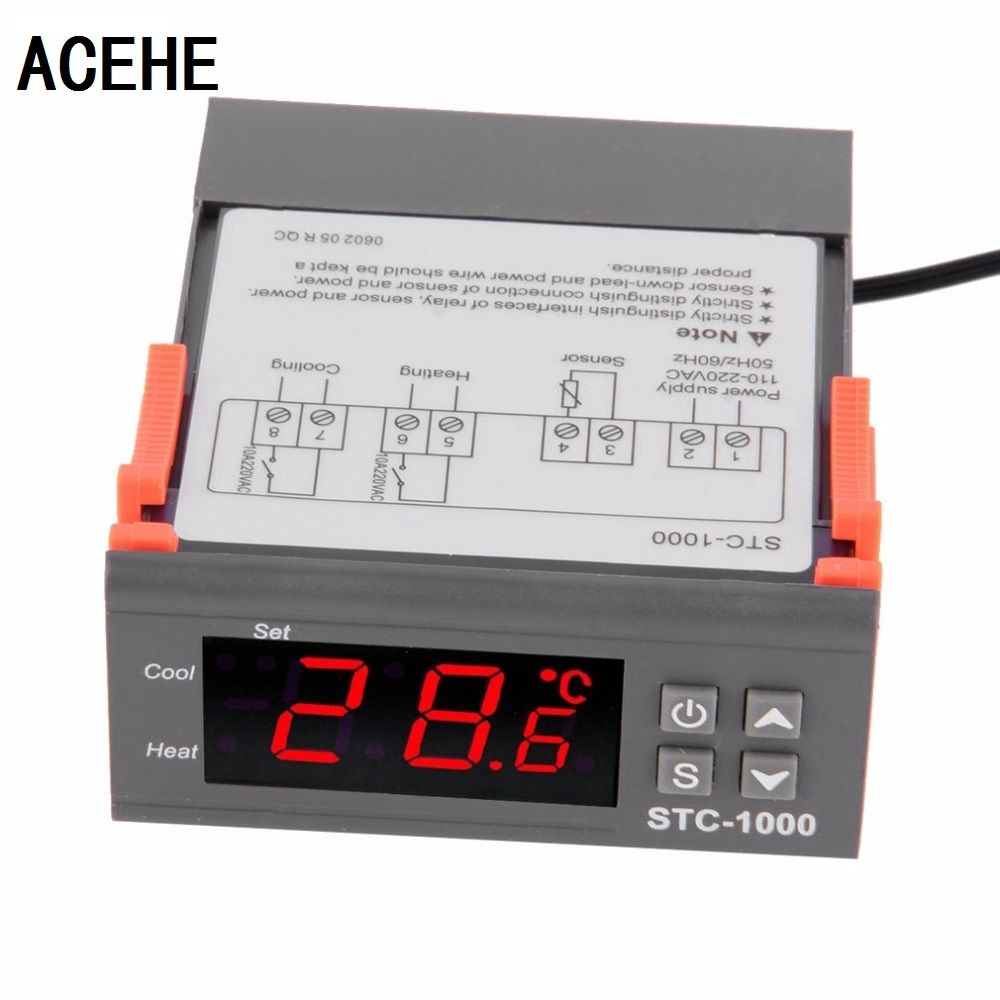 ACEHE Temperature Controller Thermostat <font><b>Aquarium</b></font> STC1000 Incubator Cold Chain Temp Wholesale Laboratories Temperature