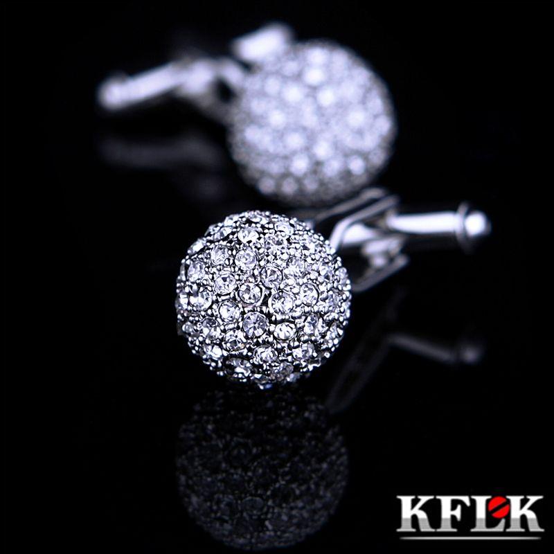 KFLK bijoux marque argent cristal mode bouton de manchette bouton haute qualité chemise bouton de manchette pour hommes de luxe mariage livraison gratuite