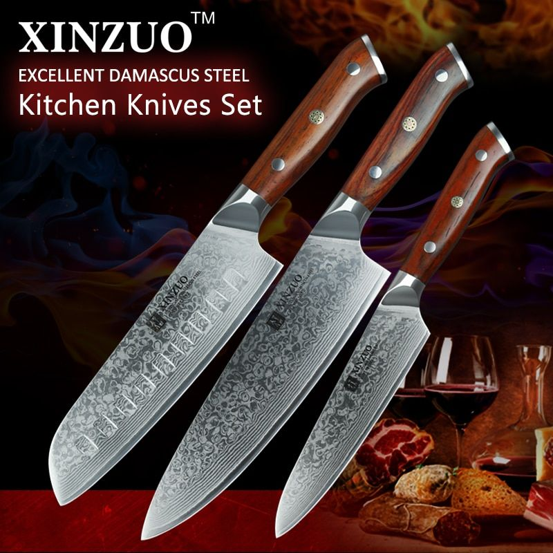 XINZUO 3 pcs Damascus steel kitchen knife set 8 inches chef knives stainless steel santoku knife rosewood handle kitchen tool