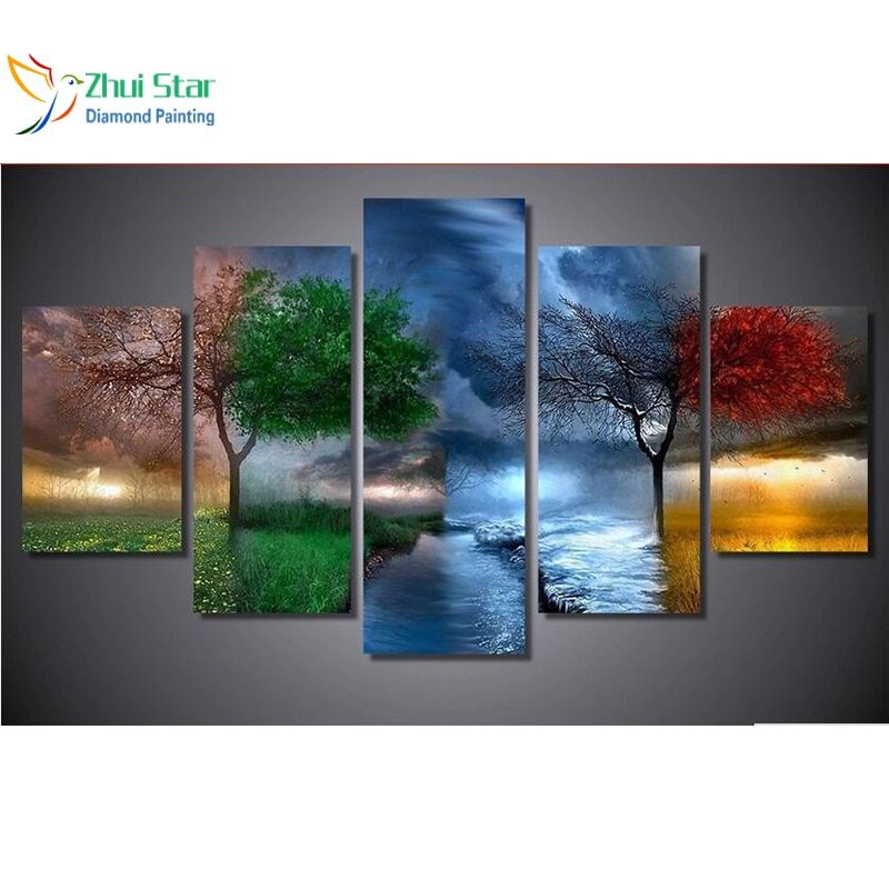Zhui star 5d diy diamond painting four seasons trees cross stitch full square diamonds 3d diamond embroidery 5pcs home adornm zx
