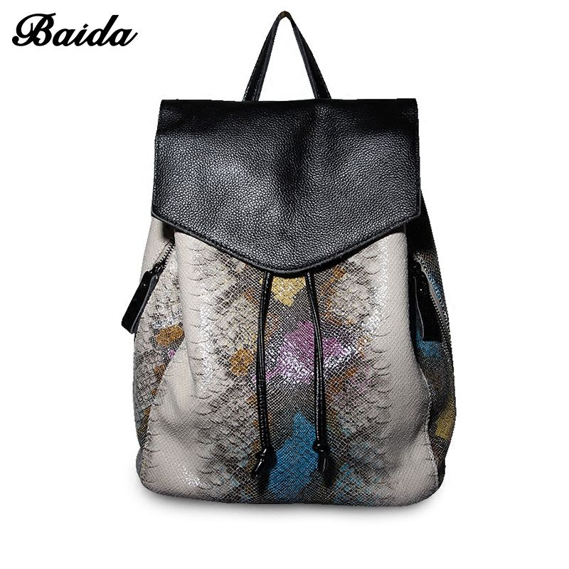 Women Genuine Real Cow Leather Backpack Drawstring Bag Serpentine women's Bags School Travel Daily Casual Vintage Retro Bagpack