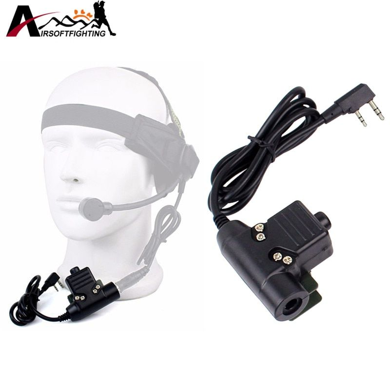 Element Z-Tactical U94 Style Kenwood 2 Pins PTT Adapter for Radio Headset Airsoft Tactical Combat Headphone Z113-Black