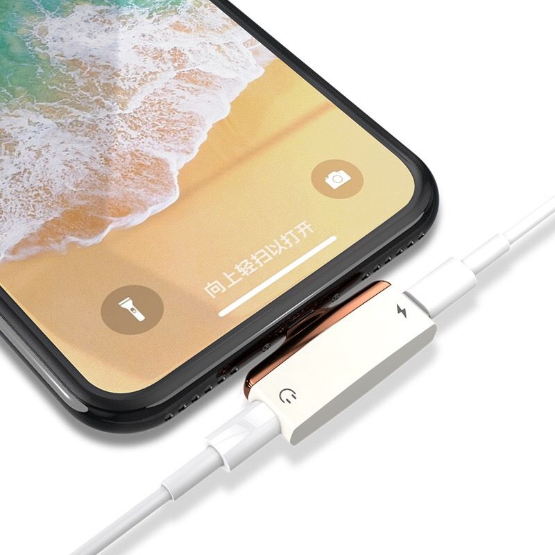 VRURC 2 in 1 For iPhone X Audio Charging Adapter For iPhone 7 8 Plus Adapter Charger Splitter For Lightning Adapter Converter