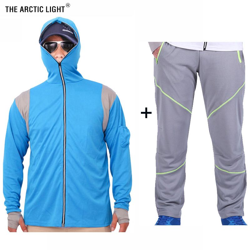 THE ARCTIC LIGHT Set Fishing Shirt&Pants Breathable Sun Protection Anti-UV White Blue Men Quick Dry Fishing Shirt Outdoor Sports