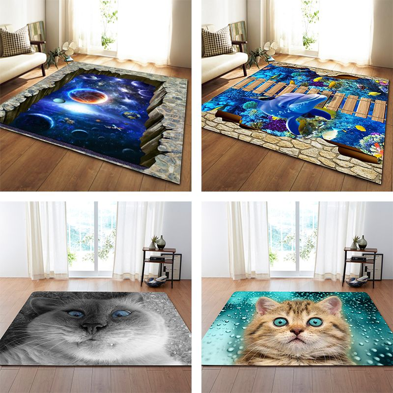 Nordic 3D Printed Large Carpets Galaxy Space Cat Mat Soft Flannel Area Rugs Anti-slip Rug for Living Room Home Decor Parlor