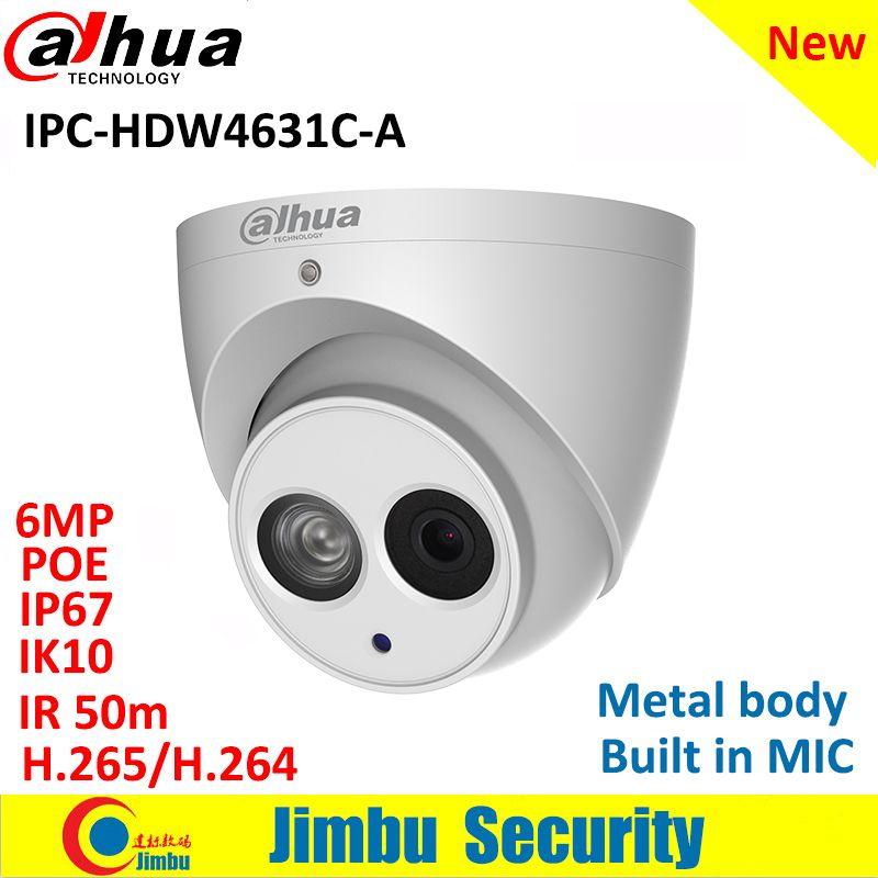 Dahua Ip Camera IPC-HDW4631C-A 6MP Dome Camera metal body POE CCTV camera H.265 Built-in MIC IR50m IP67 IK10