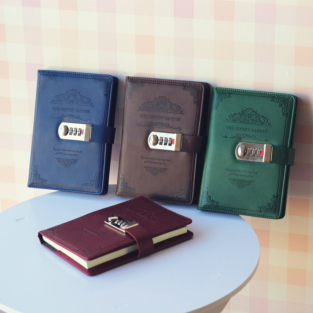 creative stationery notebook retro Password book with lock diary thread installed Notepad Business books school office supplies