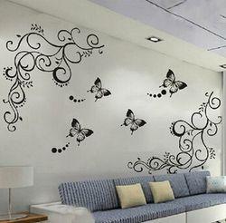 3D harga terendah calssic hitam kupu-kupu bunga Wall stiker home decor poster flora kupu-kupu TV dinding dekorasi yang indah