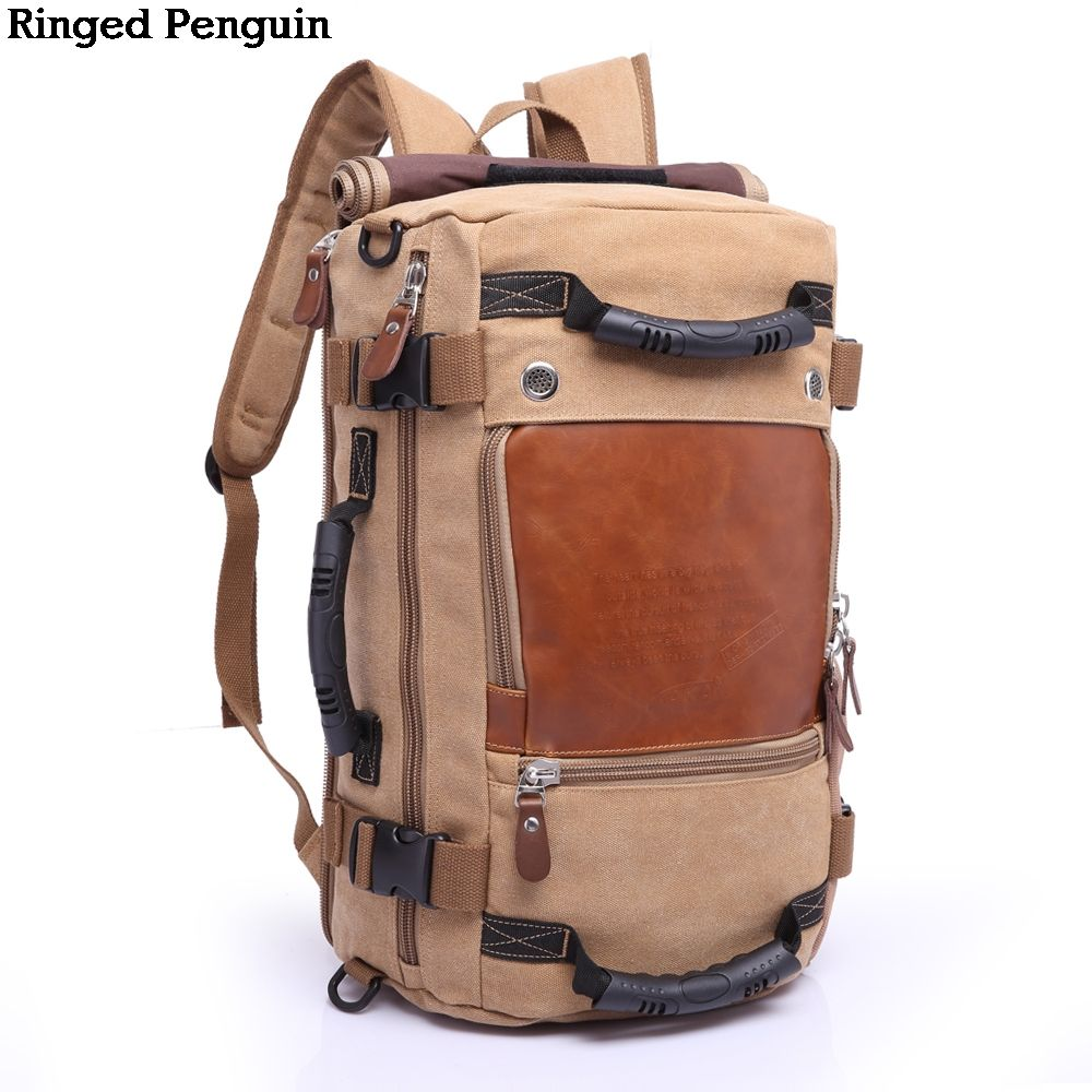 Ringed Penguin Brand Large Capacity Multifunctional Travel Backpack Male Luggage Canvas Shoulder Bag Travel Bag Trekking