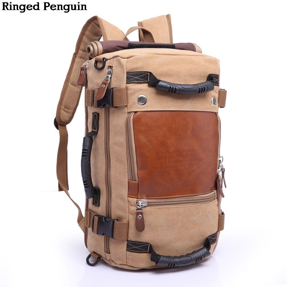 Ringed Penguin Brand Large Capacity Multifunctional Travel Backpack Male Luggage Canvas Shoulder Bag Travel Bag Trekking