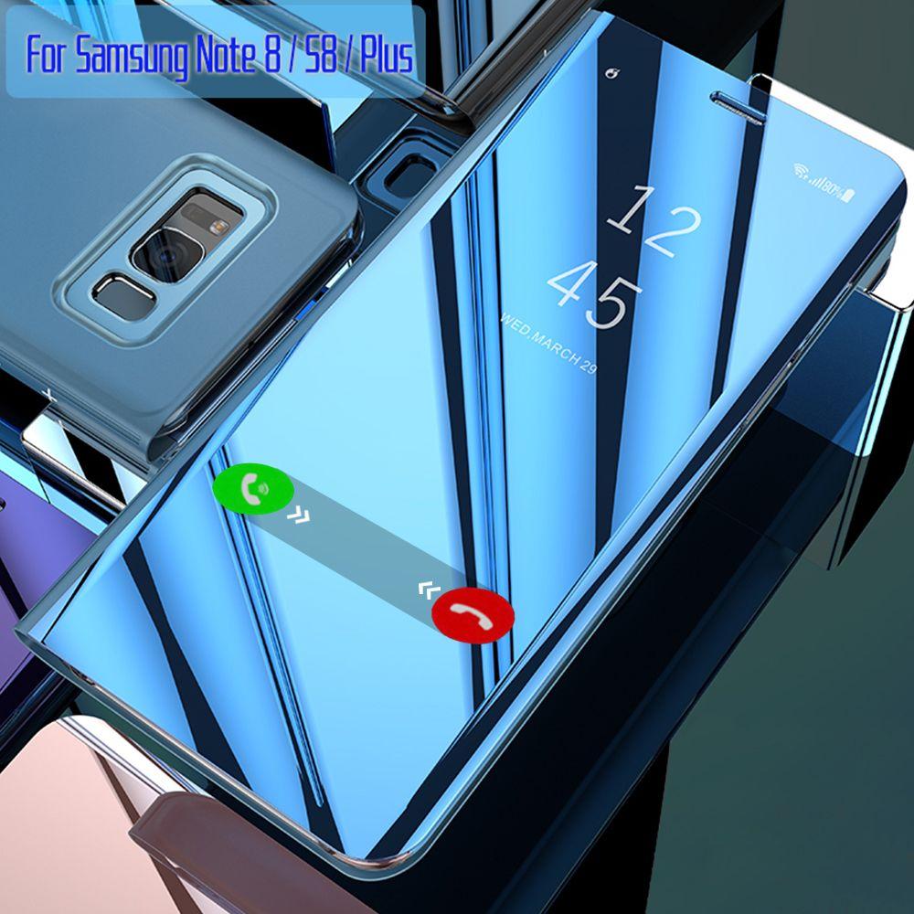 Für Samsung Galaxy S8 Fall Flip-Cover Original Spiegel Smart Chip Anzeigen für Samsung S8 Plus Hinweis 8 G950F G955F n950F Fall Capa