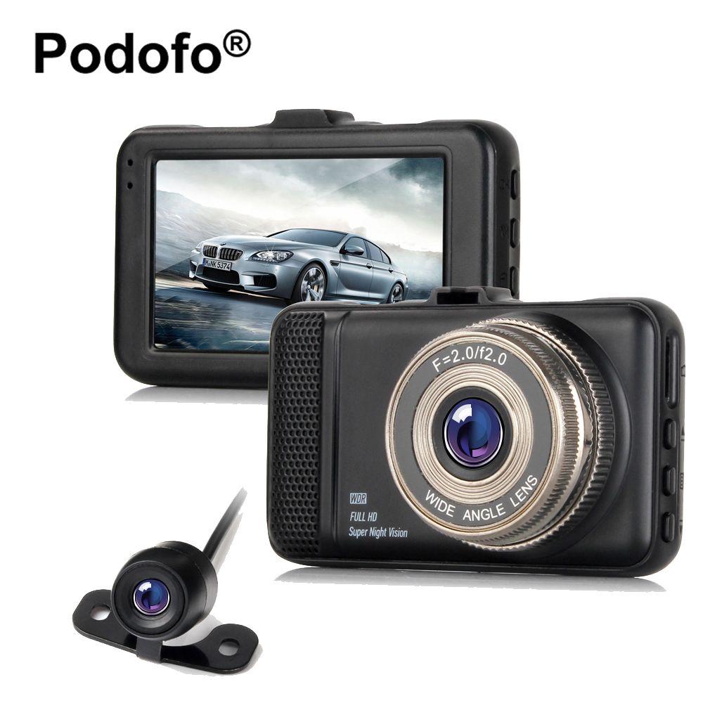 Original Podofo Dual Lens Car DVRs Camera Dash Cam 3.0 Inch 1080P FHD Video Registrator Camcorder with Rear View Camera Blackbox