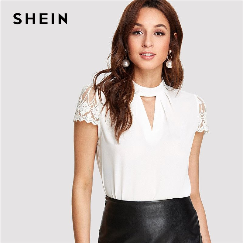 SHEIN Workwear Elegant Office Lady Short Sleeve V Cut Neck Contrast Lace Sleeve <font><b>Womens</b></font> Tops and Blouses 2018 Summer Blouse