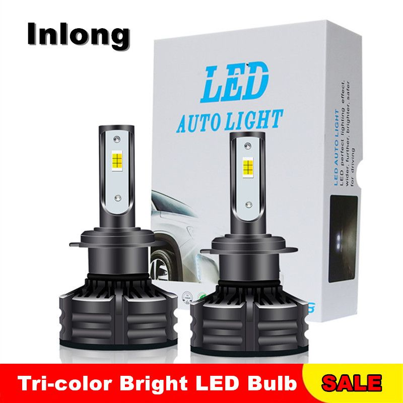 Tri-color H7 LED Car Headlight Bulb 12V 60W 10000LM H1 H4 H8 H9 H11 9005 9006 Super Bright Auto Front Headlamps Turbo Silent Fan