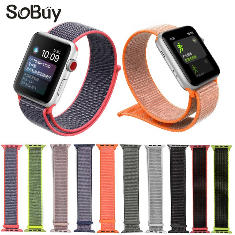 IDG sport woven nylon loop strap for apple watch band wrist braclet belt fabric 38 mm 42 nylon band for iwatch1 2 3 series Strap