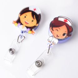 1PC Cute badge reel id holder retractable badge holder cartoon Student nurse lanyards id badge holder Clip Name card holder