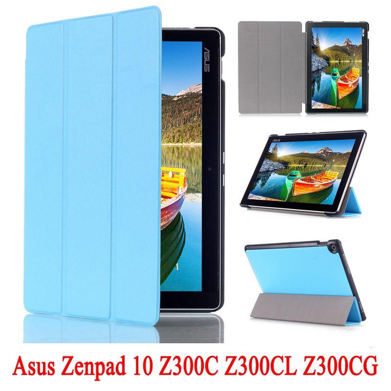 PU кожаный чехол подставка для Asus ZenPad 10 Z300C Z300CL Z300CG Планшеты В виде ракушки кожи для z300 p023 + Защитные плёнки + Стилусы