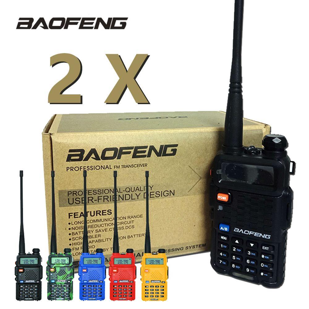 2 pièces Baofeng UV-5R talkie-walkie UV5R CB Station de Radio 5 W 128CH VHF UHF double bande UV 5R Radio bidirectionnelle pour la chasse aux Radios à jambon