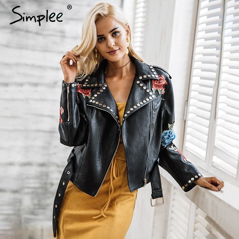 Simplee PU leather appliques floral rivet women basic jackets Streetwear black zipper outerwear Autumn winter faux leather coats
