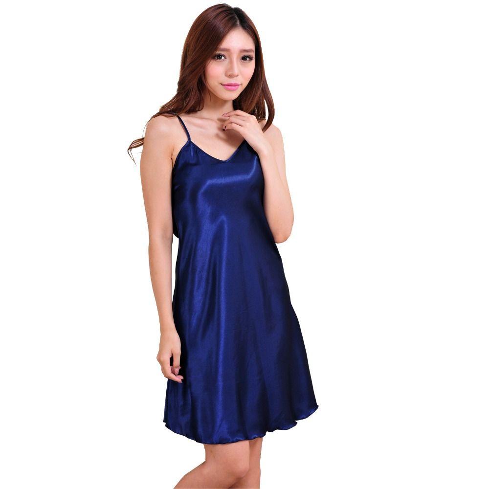 Dames Sexy soie Satin chemise de nuit sans manches nuisettes au-dessus du genou chemise de nuit grande taille robe de nuit d'été chemise de nuit pour les femmes