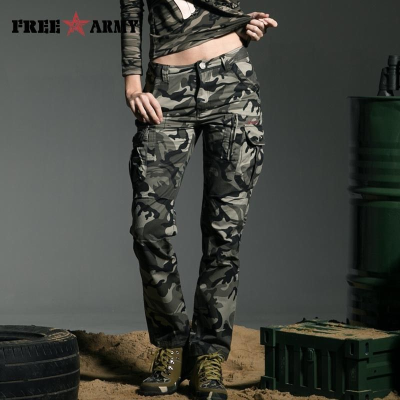 Band Military Style Camouflage Women's Pants High Quality Mid Waist Cargo Camouflage Army Green <font><b>Leisure</b></font> Trousers Capris GK-9370B