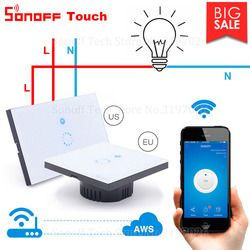 Itead Sonoff Touch EU US Wifi Wall Touch Switch 1 Gang 1 Way Wireless Remote Light Relay App Control Work with Alexa Google Home