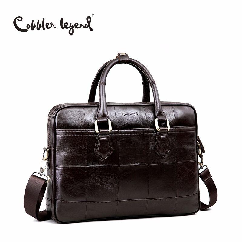 Sac de mallette en cuir véritable pour hommes de marque Cobbler Legend pour sacs à bandoulière pour hommes de 15 ''sac d'affaires pour ordinateur portable 0907159-A-1