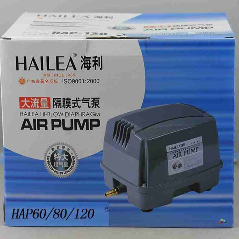 90W 120L/min Hailea HAP-120 Hiblow Diaphragm Air Pump for Aquarium Fish Septic Tank Air Blower Hydroponics Pond Air Compressor