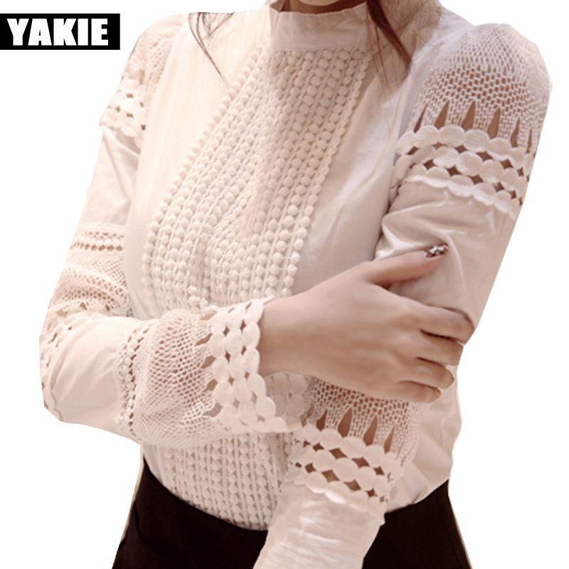 OL bureau élégant chemisiers pour femmes chemise coton échancré en dentelle col montant blanc vêtements de travail 2017 printemps d'été hauts chemises blusas