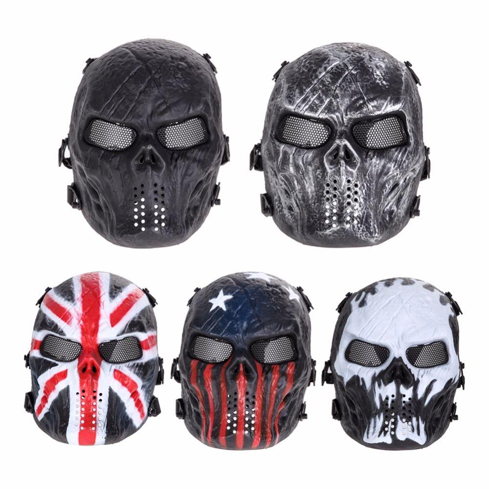 Airsoft Paintball Mask Skull Full Face Mask Army Juegos Al Aire Libre de Malla de Metal Protector Ocular para Halloween Fuentes Del Partido