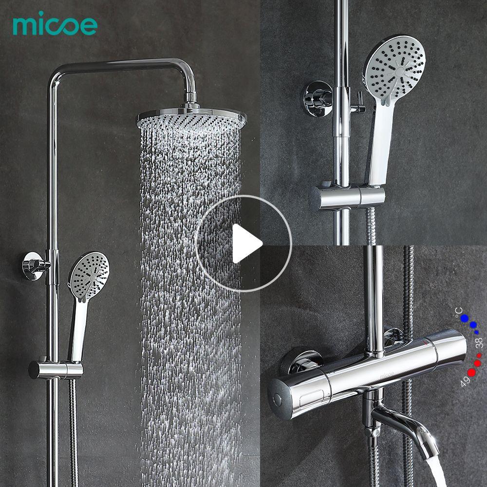 Micoe dusche set intelligente thermostat wasserhahn dusche düse messing thermostat misch ventil bad wasserhahn dusche system
