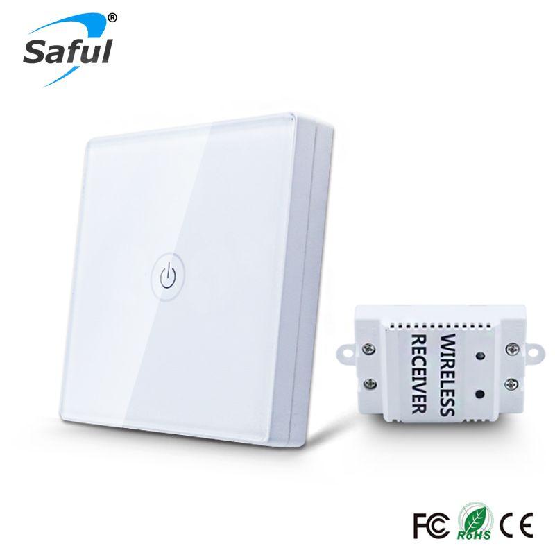 Saful 12 v Tactile Commutateur Sans Fil 1 Gang 1 Way Étanche Lumière Interrupteur Tactile Panneau Interrupteur Mural Lumière Interrupteur Pour maison intelligente