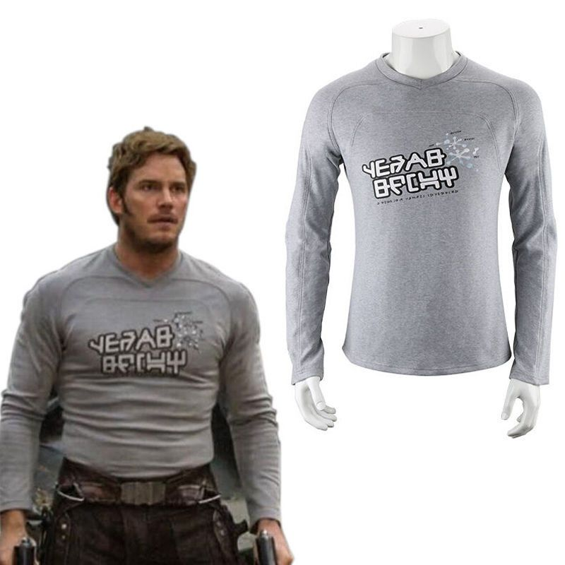 Mode hommes à manches longues T-shirts gardiens de la galaxie 2 Starlord chemise Peter Jason Quill Cosplay Costume