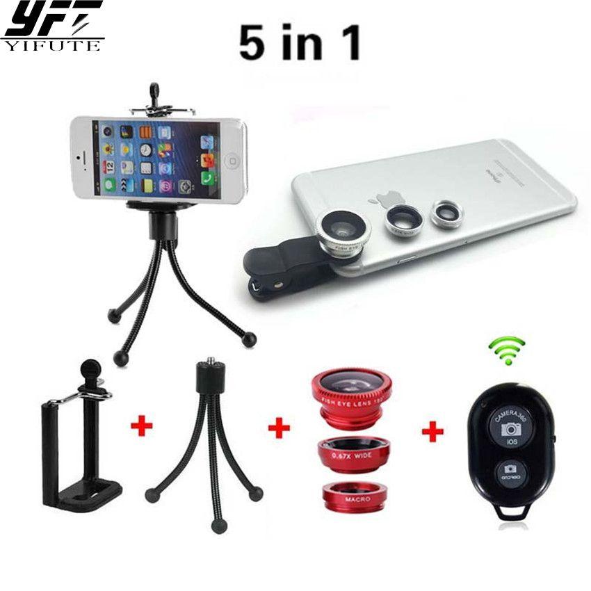 5in1 Mobile Téléphone Caméra Kit 3in1 Lentille Fisheye + Grand Angle + Macro Lentilles Bluetooth À Distance Avec Trépied Pour iPhone Samsung HTC