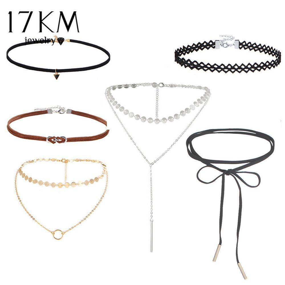 17 KM Spitze Pailletten Halsband Set für Frauen Neue Art Und Weise Aushöhlen Doppelschicht Lange Halsketten Maxi Halskette Collier Leder schmuck