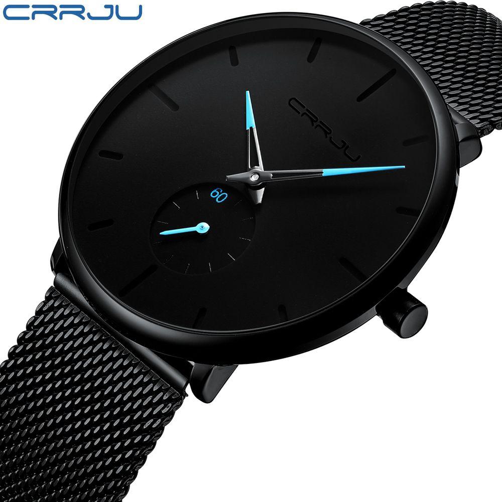 CRRJU Mode Montre Hommes Étanche Mince Maille Bracelet Minimaliste Montres Pour Hommes Quartz Montre de Sport Horloge Relogio Masculino