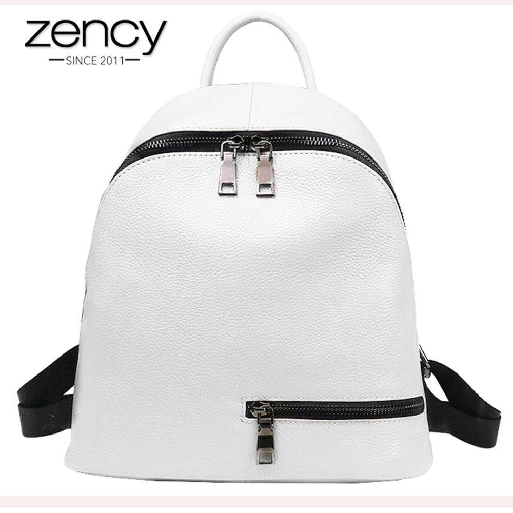 2019 mode bleu blanc 100% en cuir véritable femmes sac à dos Preppy adolescentes cartable Simple sac à dos femme sac de voyage