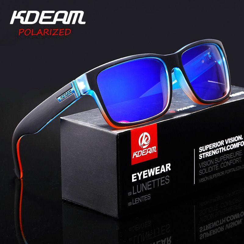 KDEAM Revamp de Sport hommes lunettes de soleil polarisées KDEAM couleurs choquantes lunettes de soleil en plein air Elmore Style lunettes de soleil avec boîte XH1