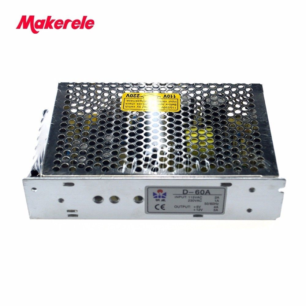 dual Output ac to dc Switching power supply 60W 5V 4A 12V 3A power supply AC-DC Free Shipping D-60A high quality