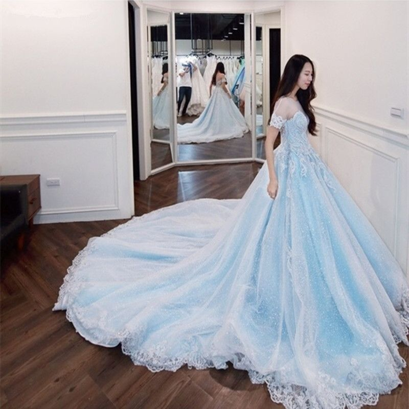 Katristsis d 2018 New robe de mariage O-neck Real Photos wedding dress turkey Luxury Cathedral Train blue Wedding Dress
