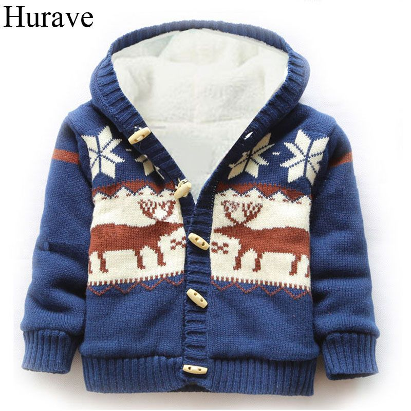 Hurave winter boys and girls coat cotton Christmas Moose patterned cashmere sweater jacket hooded baby sweater kids clothes