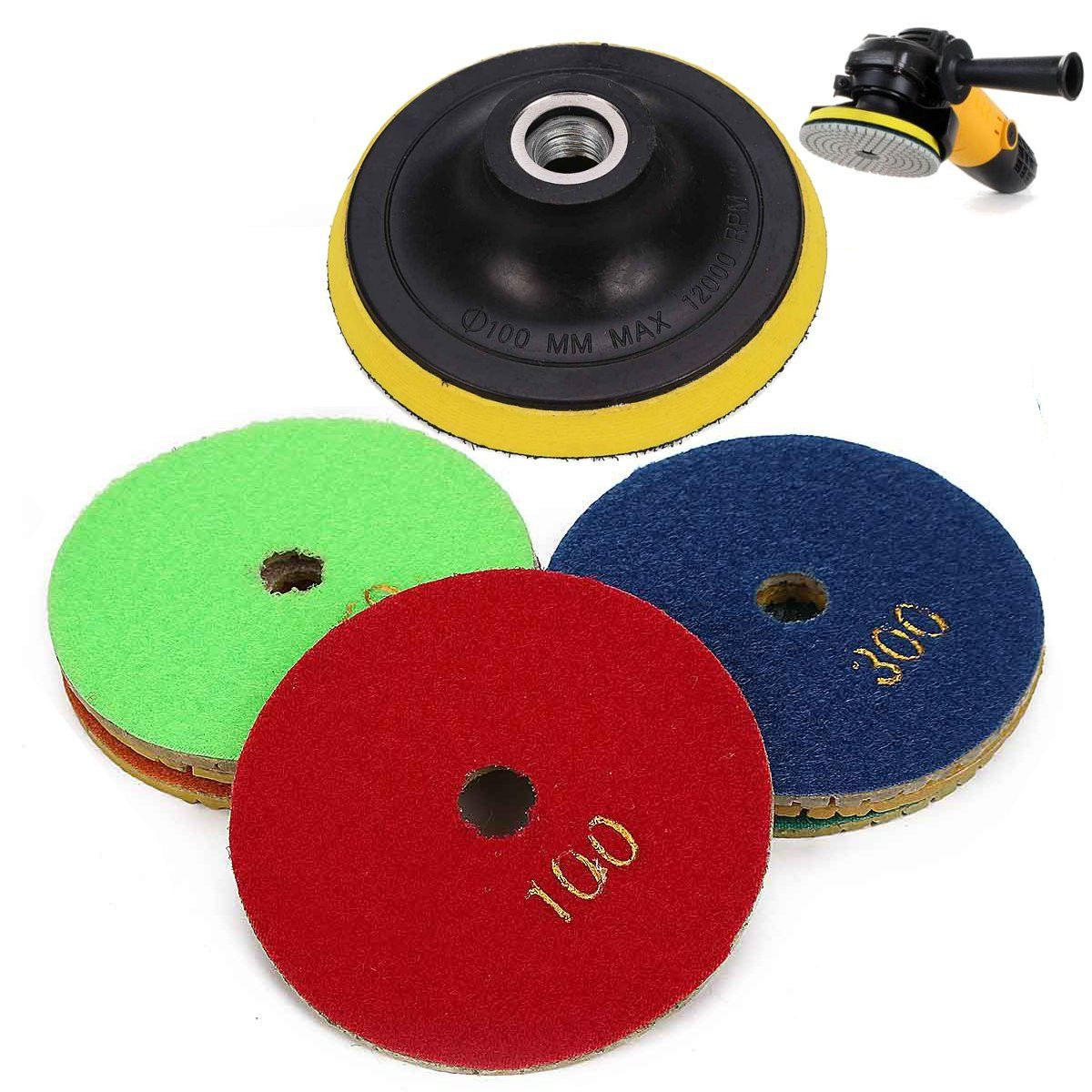 8Pcs/Set 100mm 4 inch Diamond Polishing Pad M14 Granite Marble Concrete Stone Grinding Discs Wet/Dry for Angle Grinder