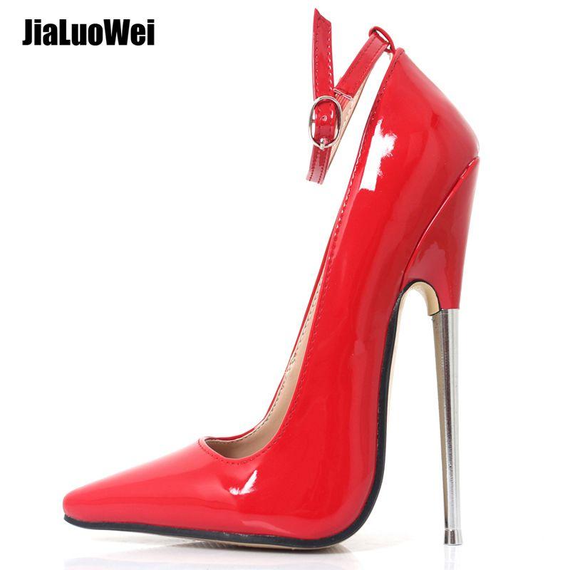 Fétiche talons hauts femmes pompes 18 cm 7 pouces Stiletto pointu orteil cheville Wrap talon haut pointe métal talon haut Bondage BDSM chaussures en caoutchouc