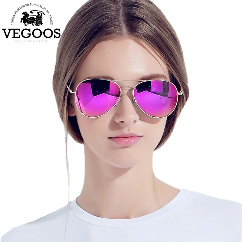 VEGOOS Luxury Designer Brand real metal frame sunglasses women retro pilot glass <font><b>famous</b></font> sun glasses oculos de sol feminino #3090