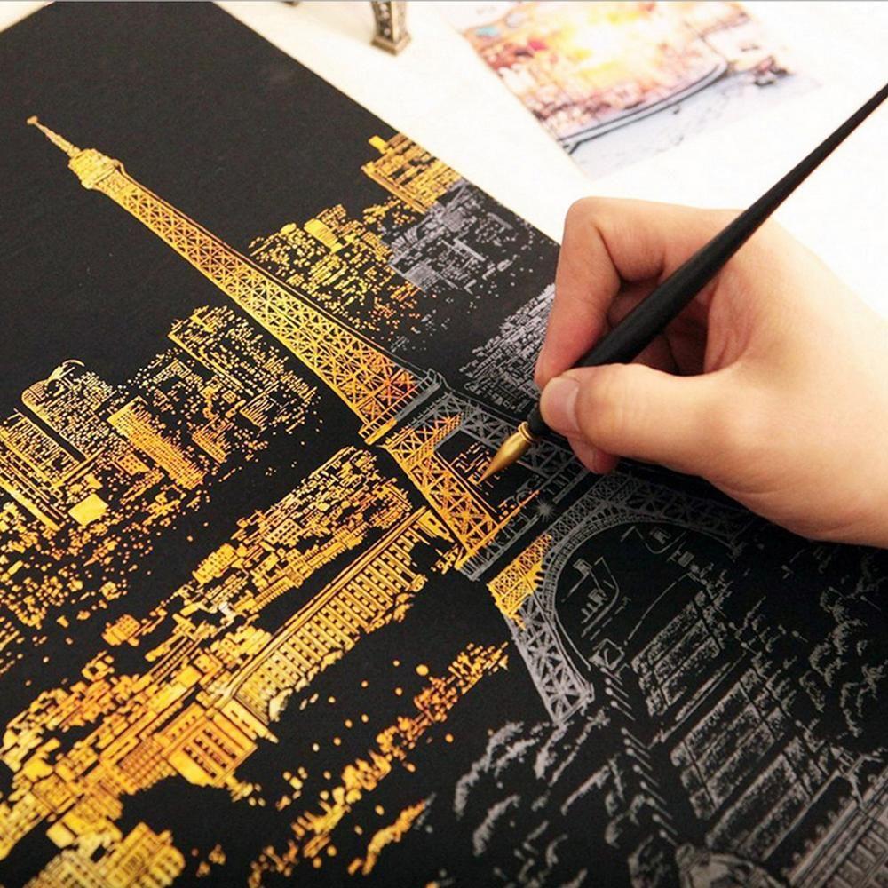 Peinture décorative gratter Gratter peinture dessin papier monde Tourisme photos décoration de la maison cadeaux d'anniversaire