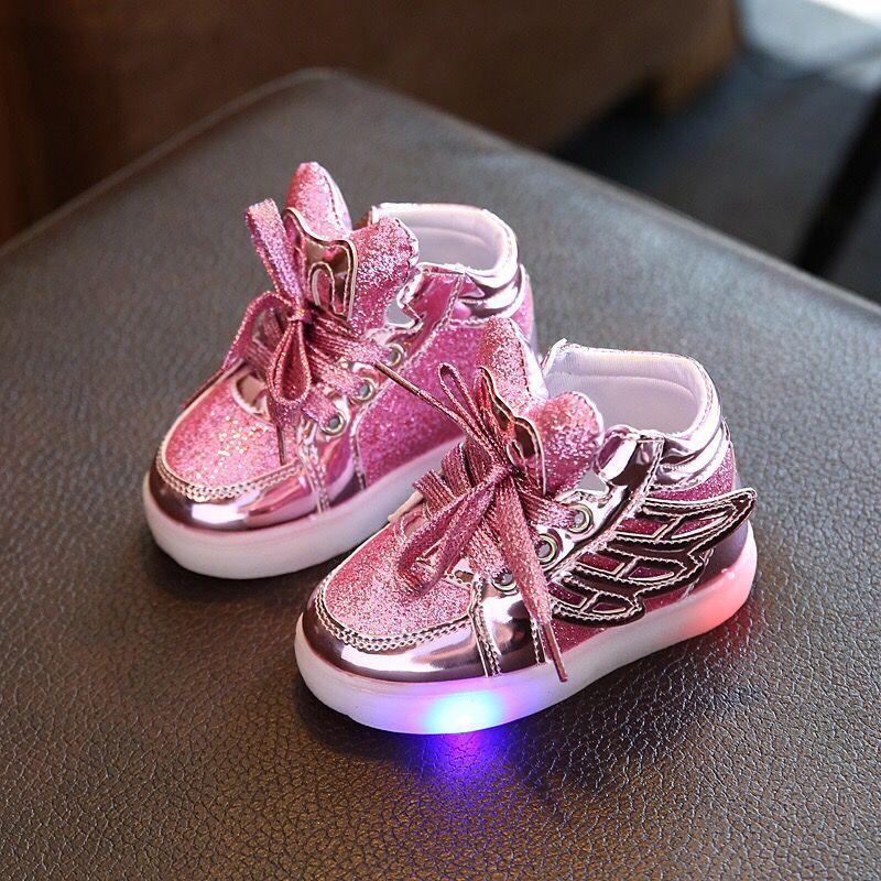 Eur21-30 детей Обувь с легким Новые Детские освещенные Обувь мальчик девочка светодиод мигает Обувь детские модные кроссовки с крыльями